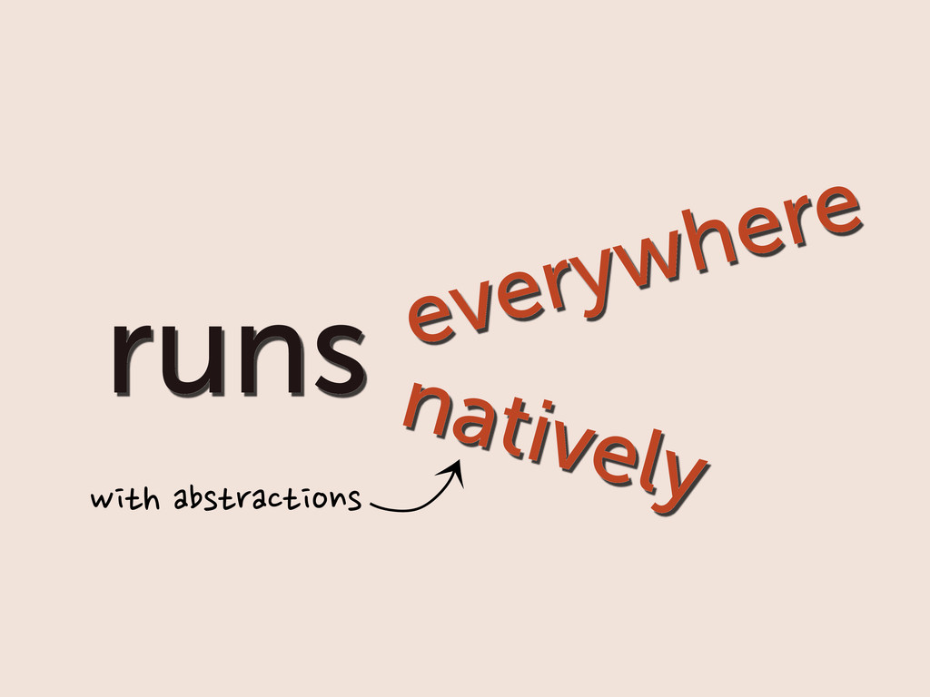 runs everywhere natively ⤹ with