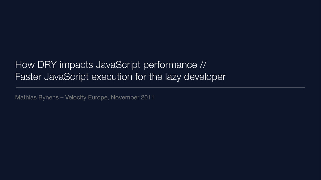 How DRY impacts JavaScript performance // Faste...