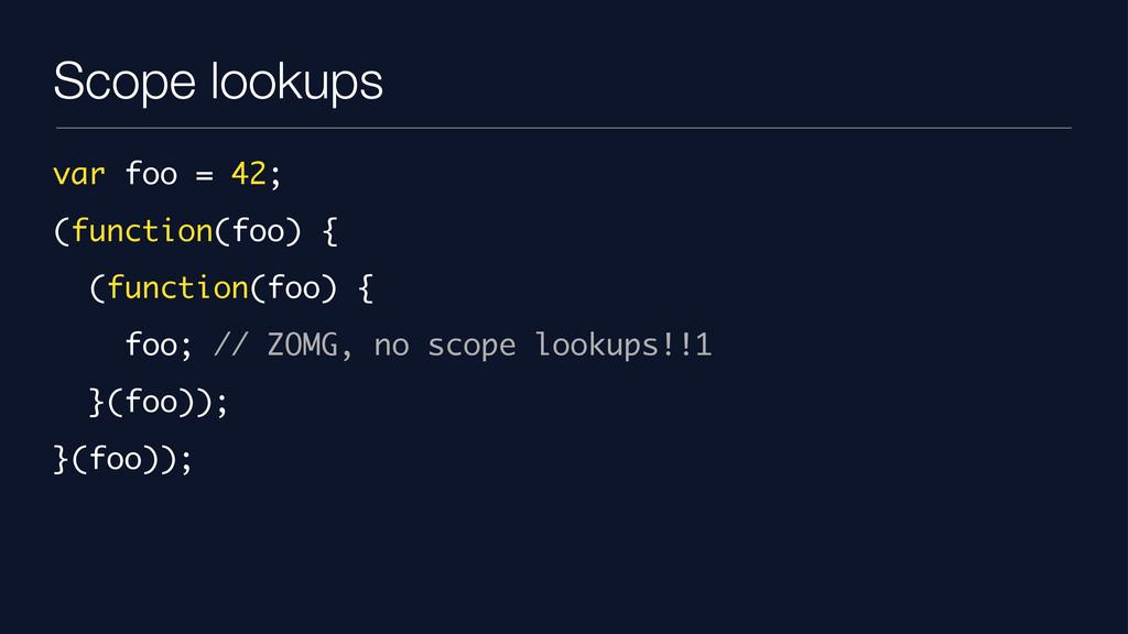 Scope lookups var foo = 42; (function(foo) { (f...