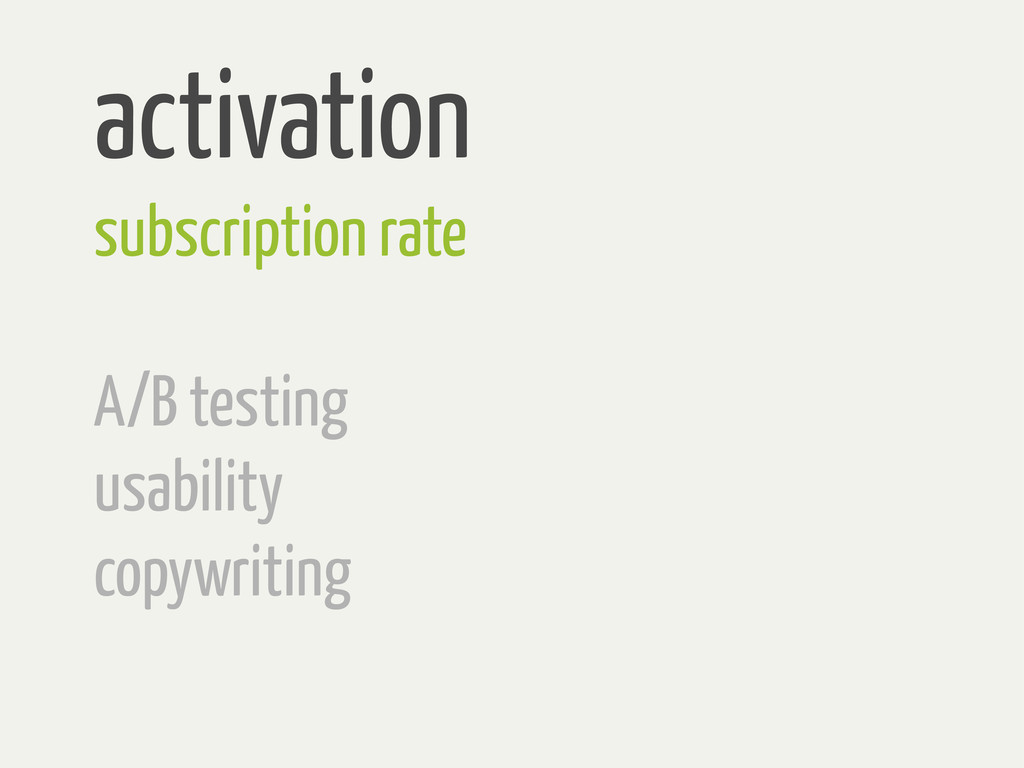 activation subscription rate A/B testing usabil...