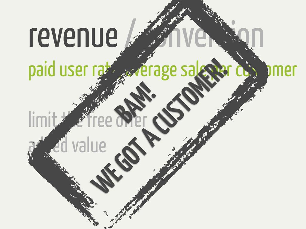 revenue / conversion paid user rate, average sa...