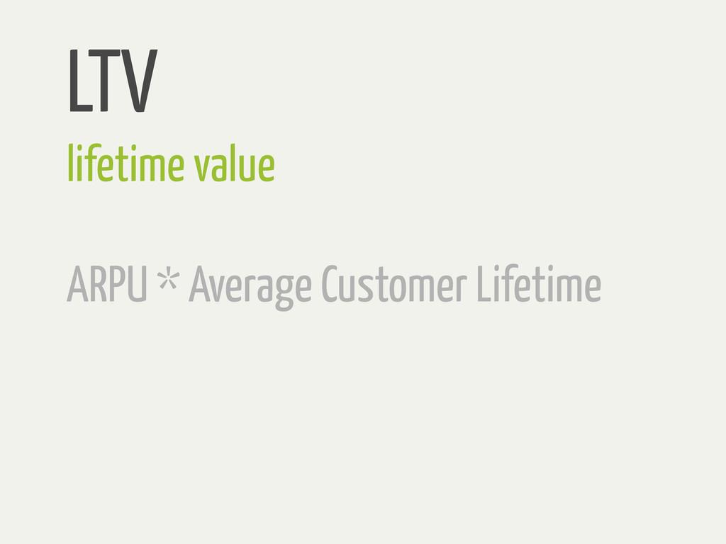 LTV lifetime value ARPU * Average Customer Life...