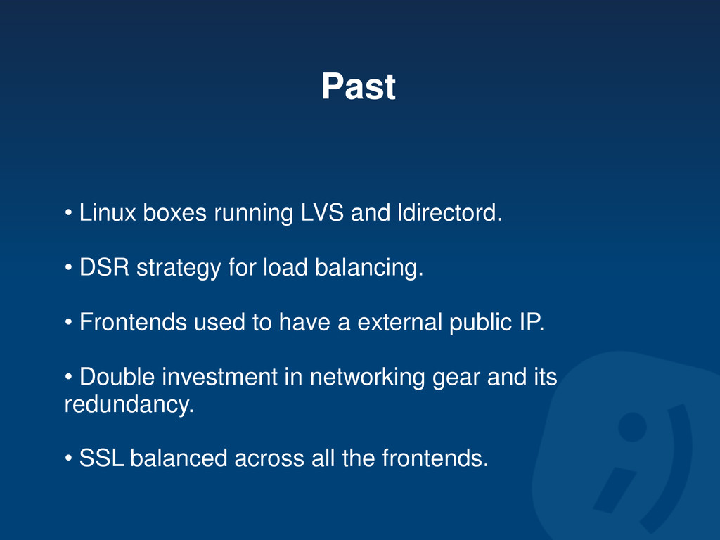 Past • Linux boxes running LVS and ldirectord. ...