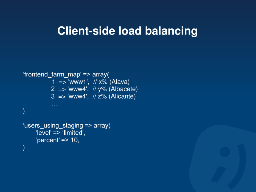 Client-side load balancing 'frontend_farm_map' ...