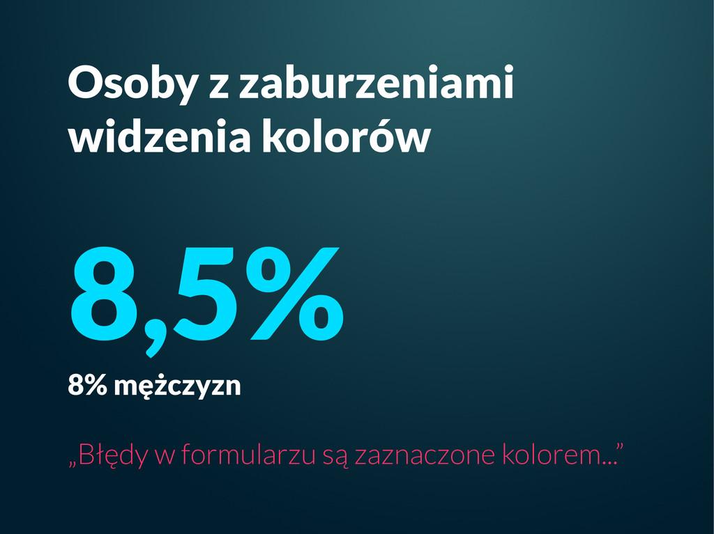 Osoby z zaburzeniami widzenia kolorów 8,5% 8% m...