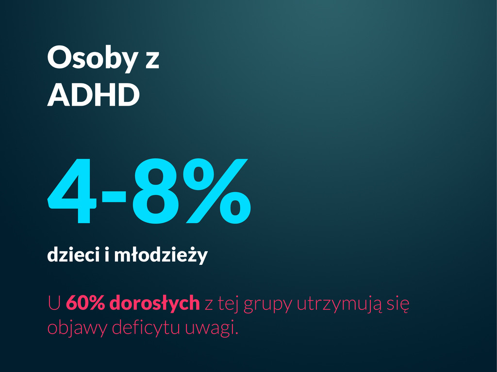 Osoby z ADHD 4-8% dzieci i młodzieży U 60% doro...