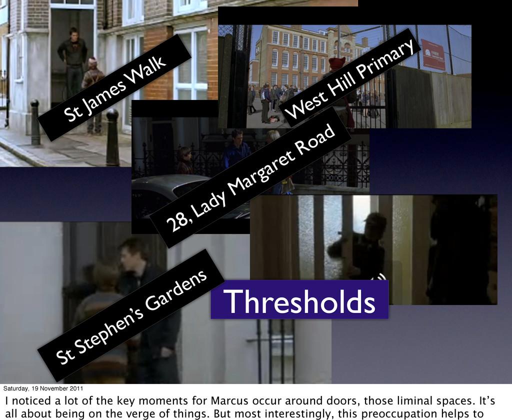 Thresholds St James W alk West Hill Primary 28,...