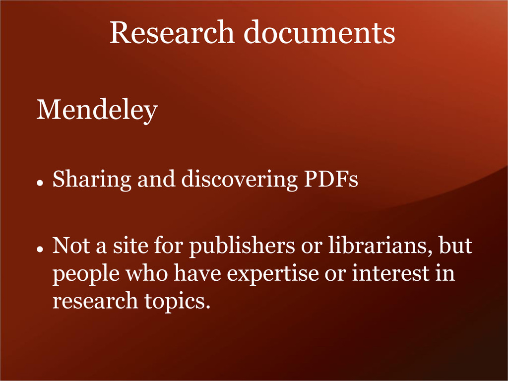 Research documents Mendeley  Sharing and disco...
