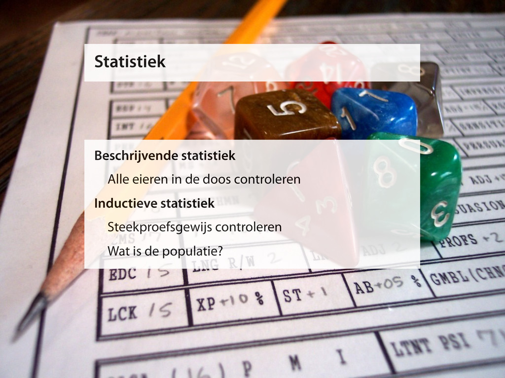 Statistiek Beschrijvende statistiek Alle eieren...