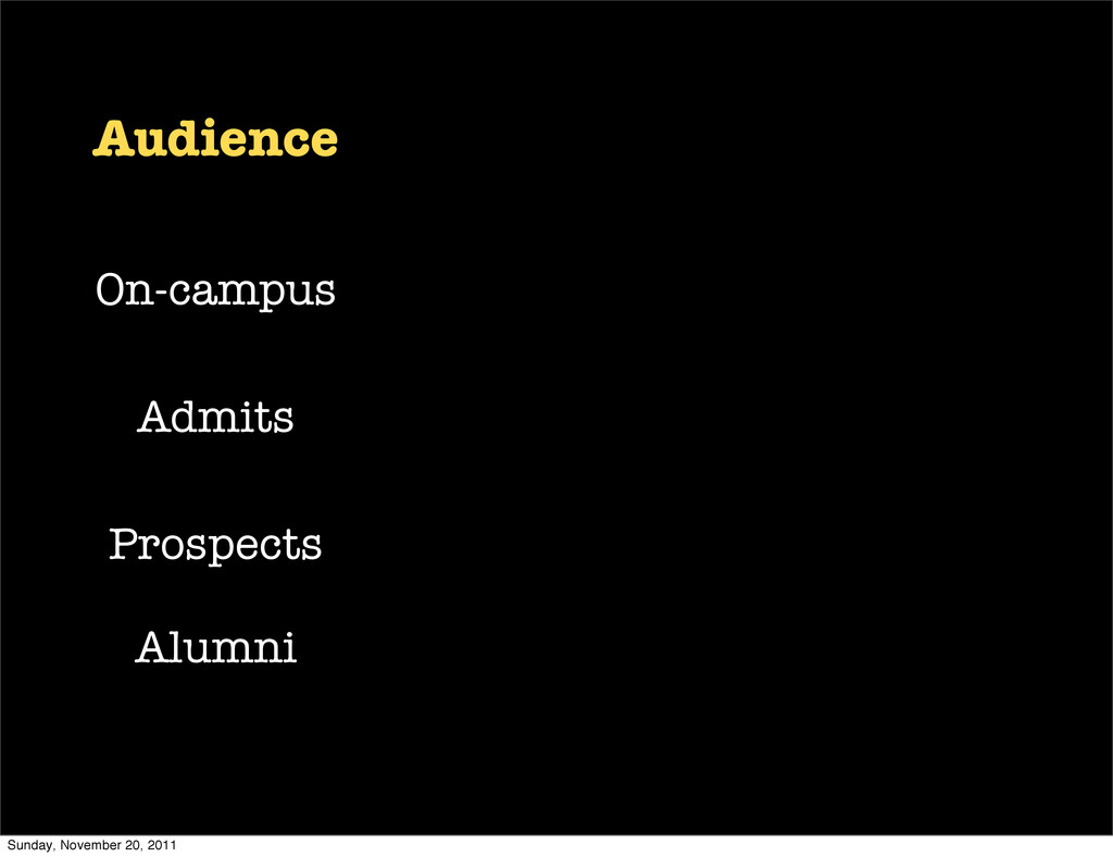 Audience On-campus Admits Prospects Alumni Sund...