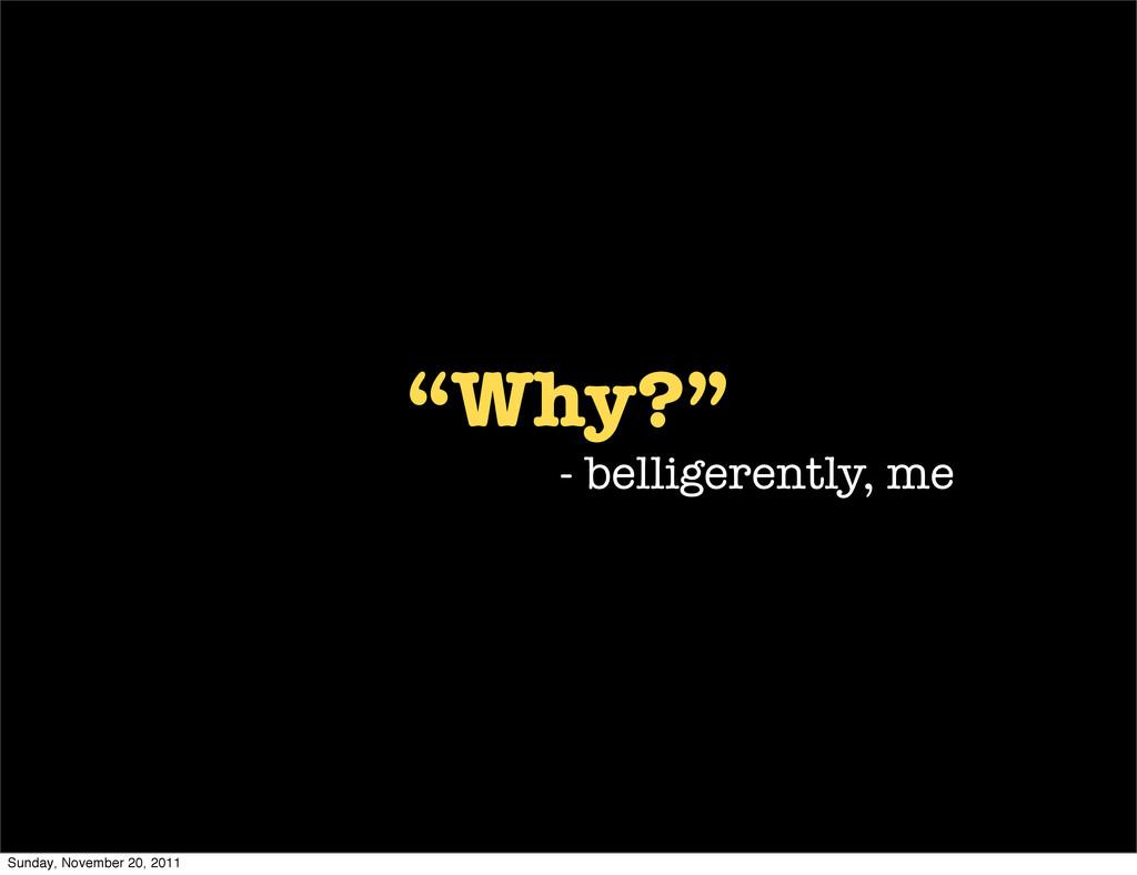 """Why?"" - belligerently, me Sunday, November 20,..."