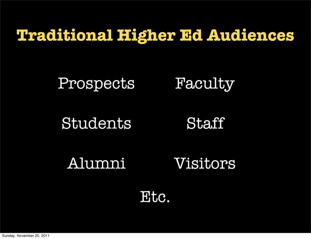 Traditional Higher Ed Audiences Students Facult...