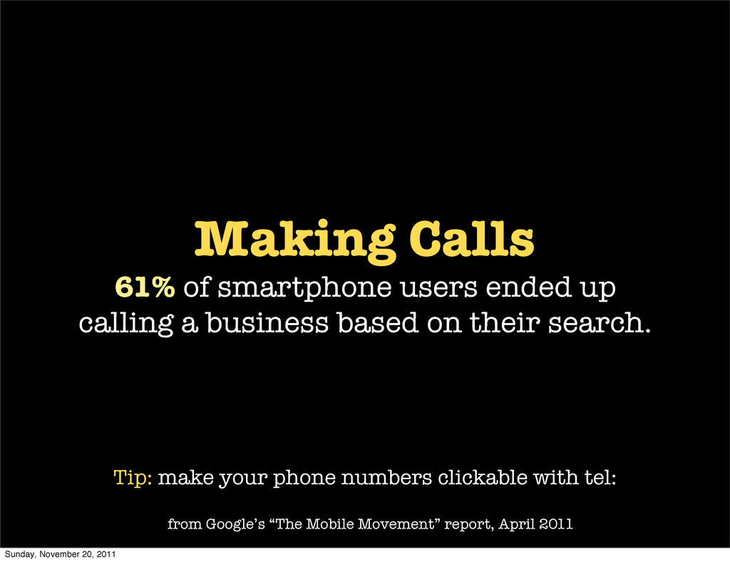 Making Calls 61% of smartphone users ended up c...