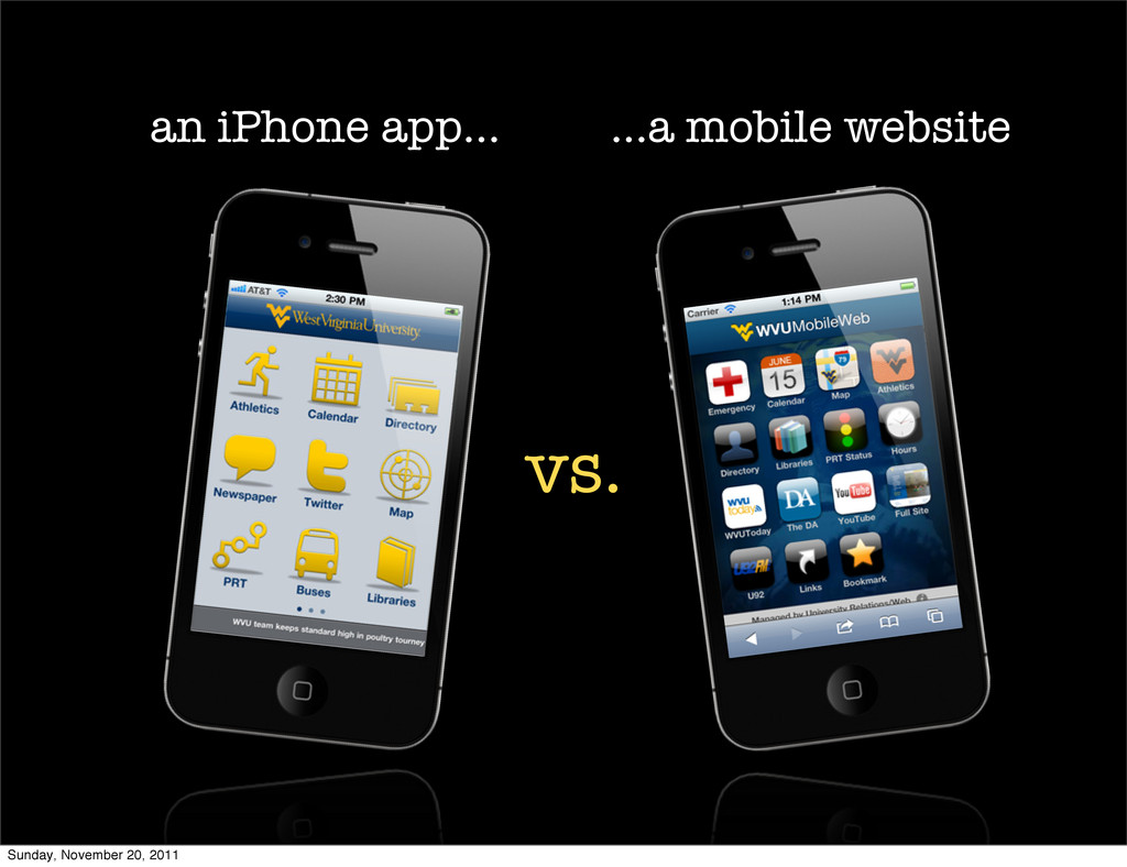 an iPhone app... ...a mobile website vs. Sunday...