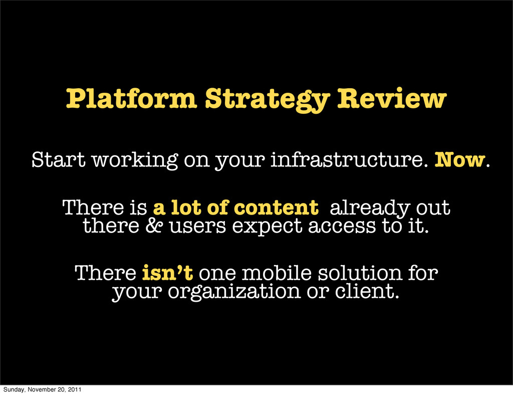 Platform Strategy Review Start working on your ...