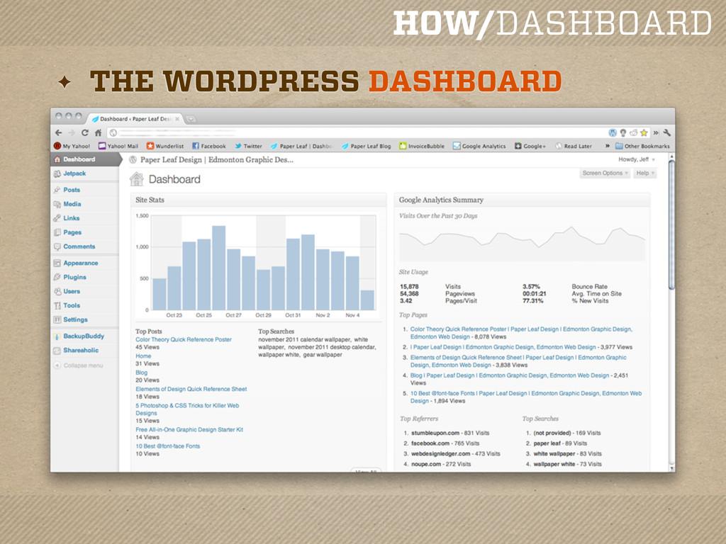 HOW/DASHBOARD ✦ THE WORDPRESS DASHBOARD