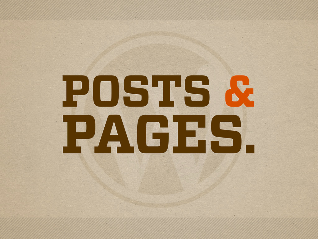 POSTS & PAGES.