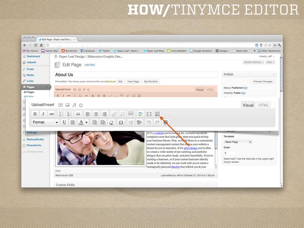 HOW/TINYMCE EDITOR