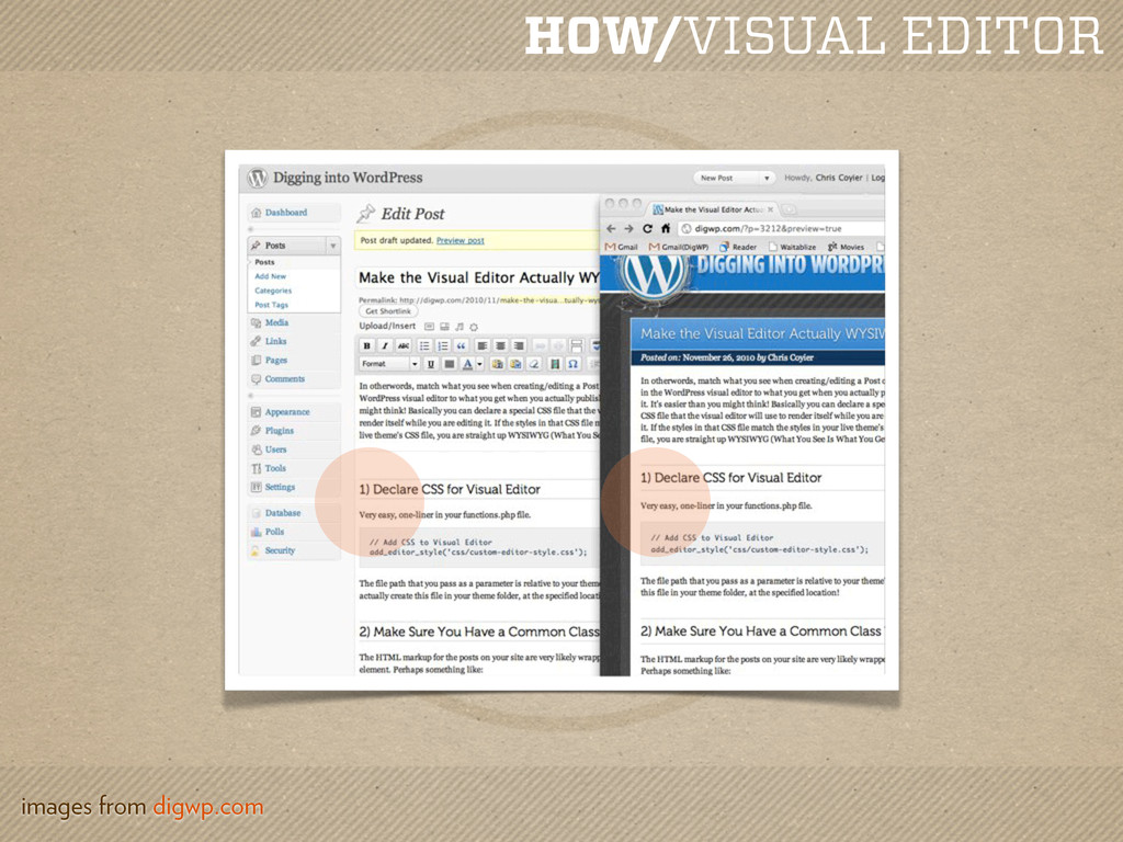 HOW/VISUAL EDITOR images from digwp.com