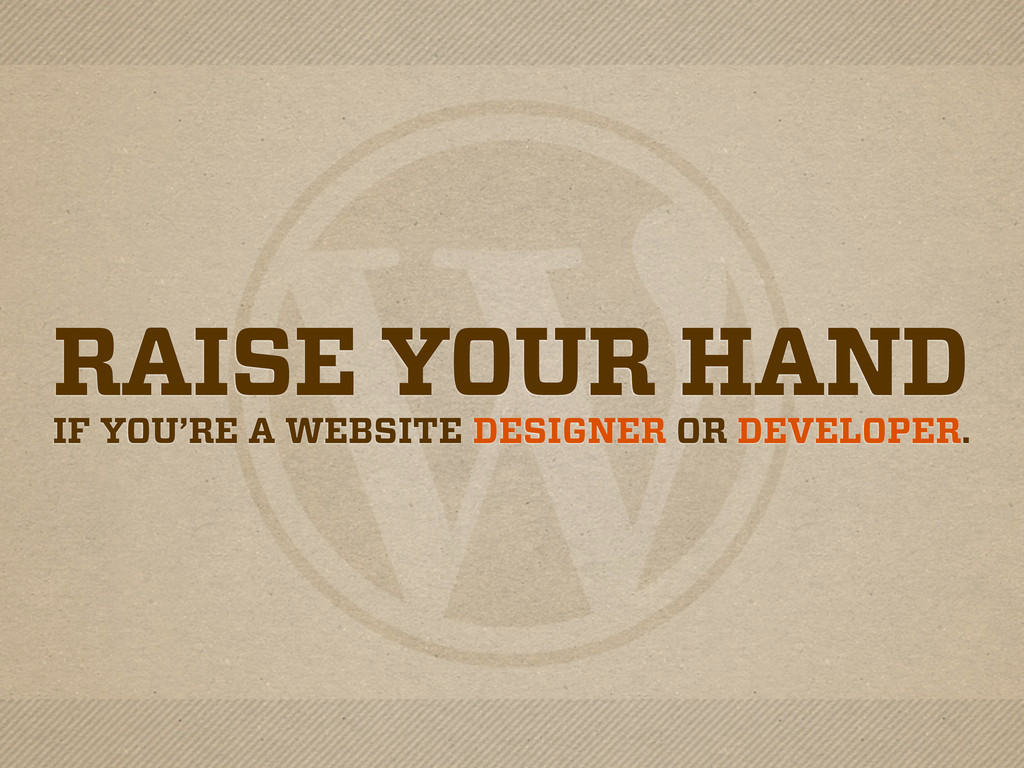 RAISE YOUR HAND IF YOU'RE A WEBSITE DESIGNER OR...