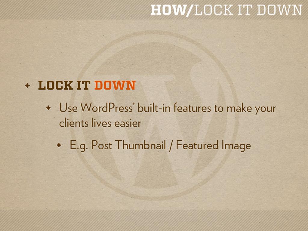 HOW/LOCK IT DOWN ✦ LOCK IT DOWN ✦ Use WordPress...
