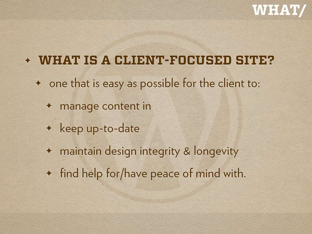 WHAT/ ✦ WHAT IS A CLIENT-FOCUSED SITE? ✦ one th...