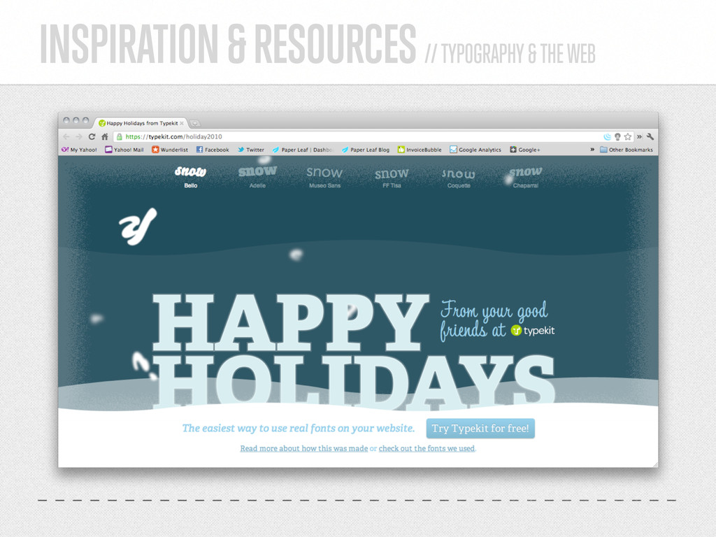 INSPIRATION & RESOURCES // TYPOGRAPHY & THE WEB