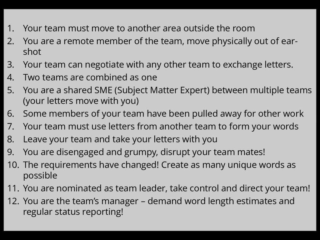 1. Your team must move to another area outside ...