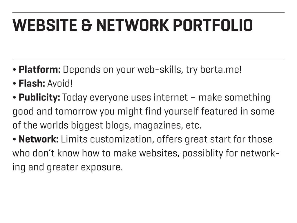 WEBSITE & NETWORK PORTFOLIO ¬ Platform: Depends...