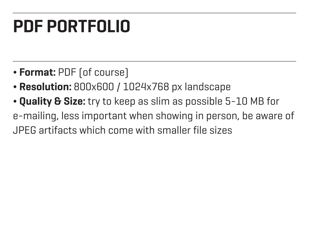 PDF PORTFOLIO ¬ Format: PDF (of course) ¬ Resol...