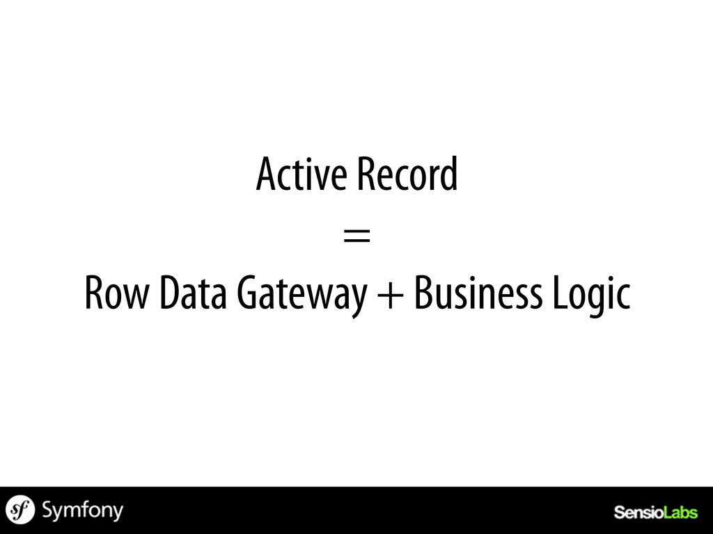 Active Record = Row Data Gateway + Business Log...