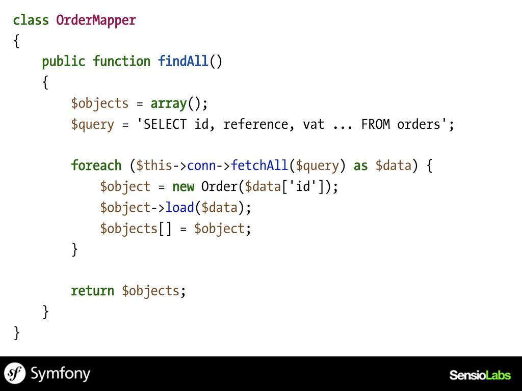 class OrderMapper { public function findAll() {...