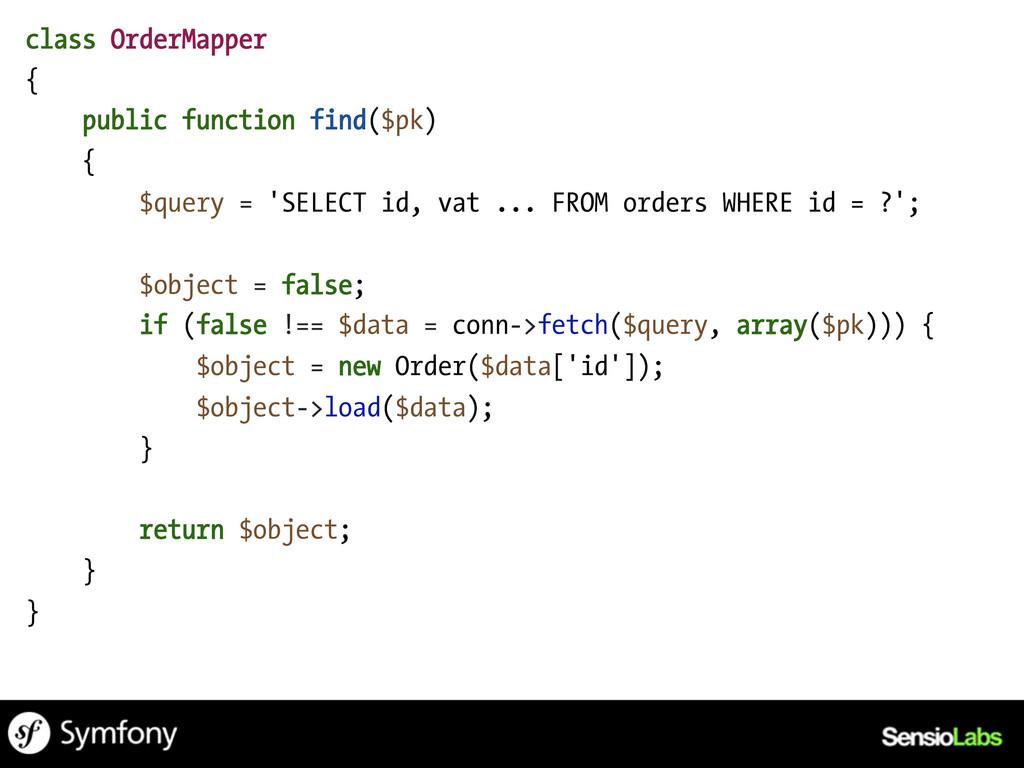 class OrderMapper { public function find($pk) {...