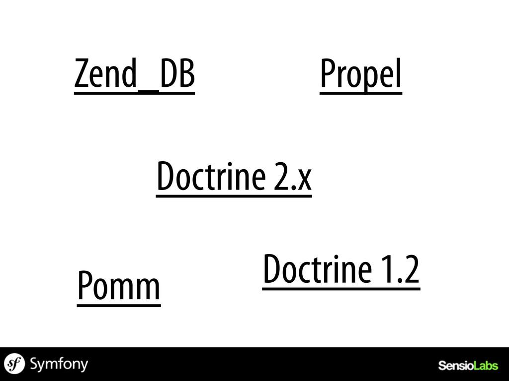 Zend_DB Doctrine 1.2 Doctrine 2.x Propel Pomm