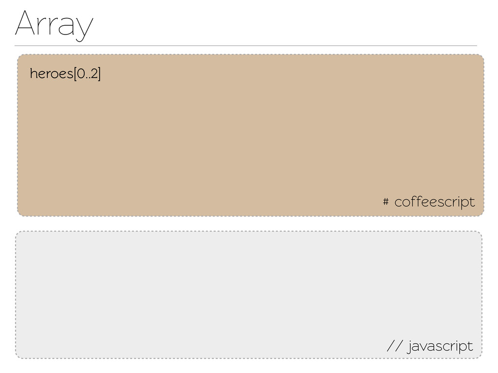 Array # coffeescript // javascript heroes[0..2]