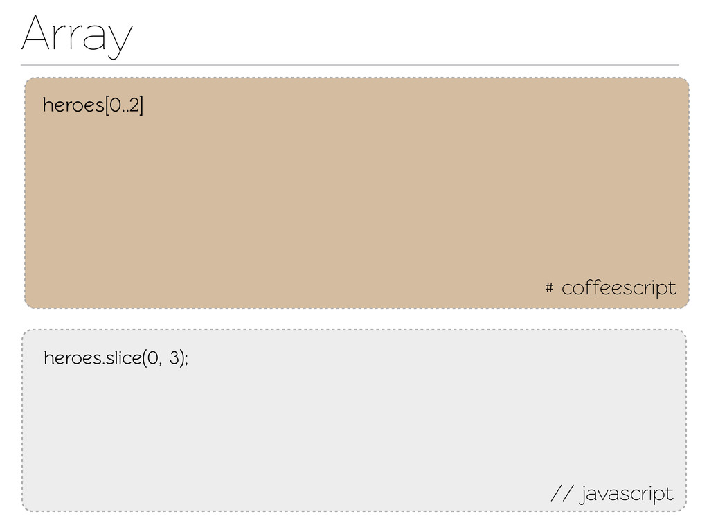 Array # coffeescript // javascript heroes[0..2]...