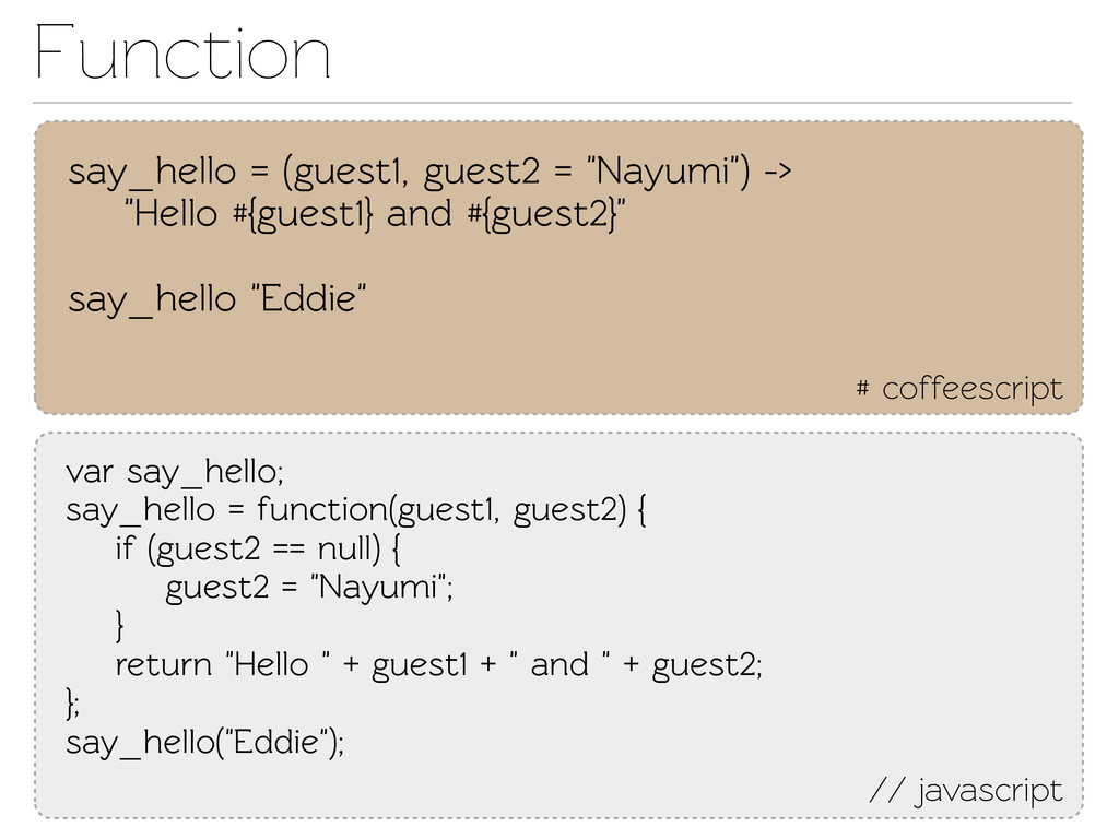 Function # coffeescript say_hello = (guest1, gu...