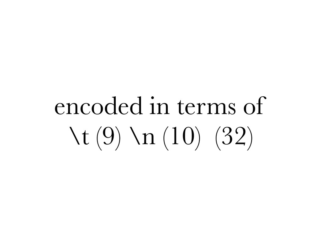 encoded in terms of \t (9) \n (10) (32)