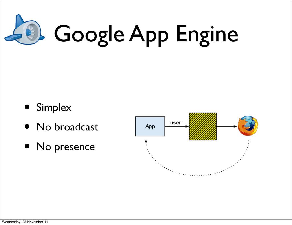 Google App Engine • Simplex • No broadcast • No...