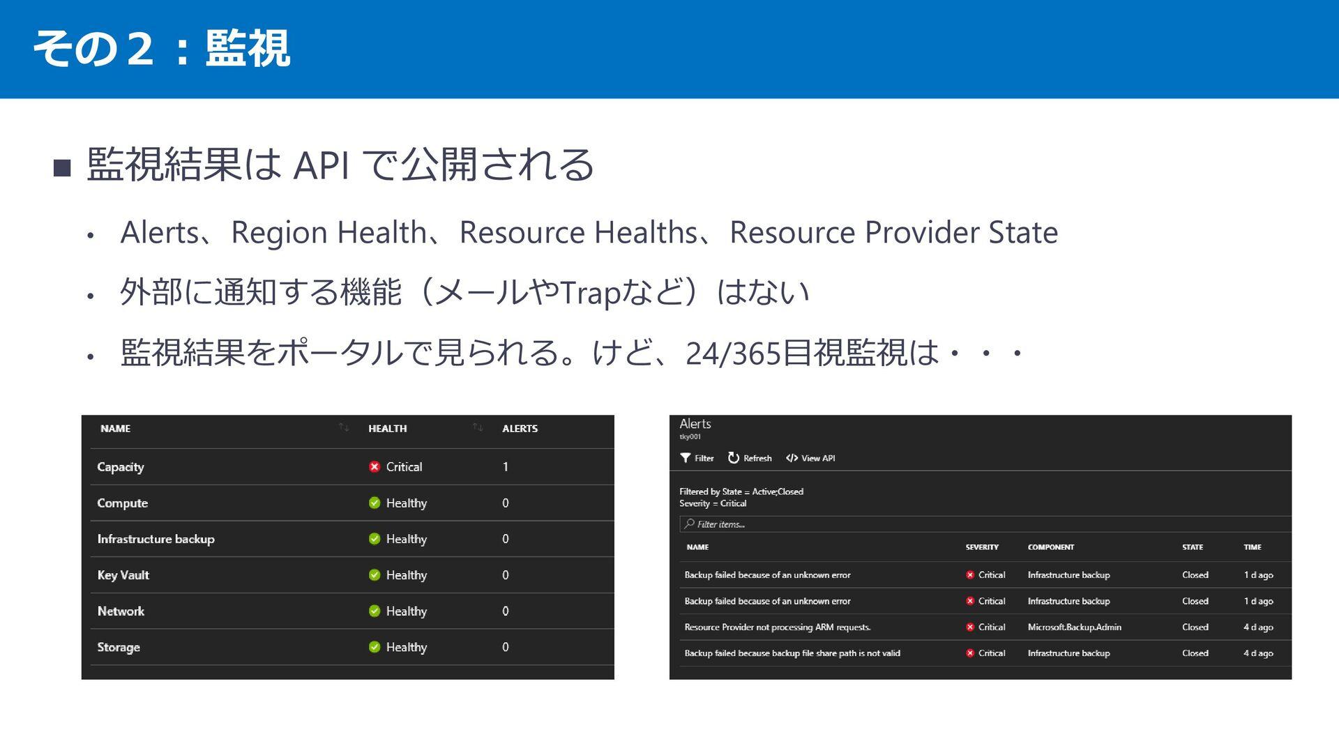 その2︓監視 監視結果は API で公開される ・ Alerts、Region Health、...