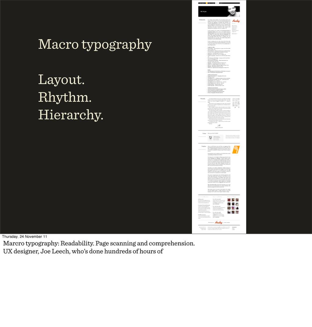 Macro typography Layout. Rhythm. Hierarchy. Thu...