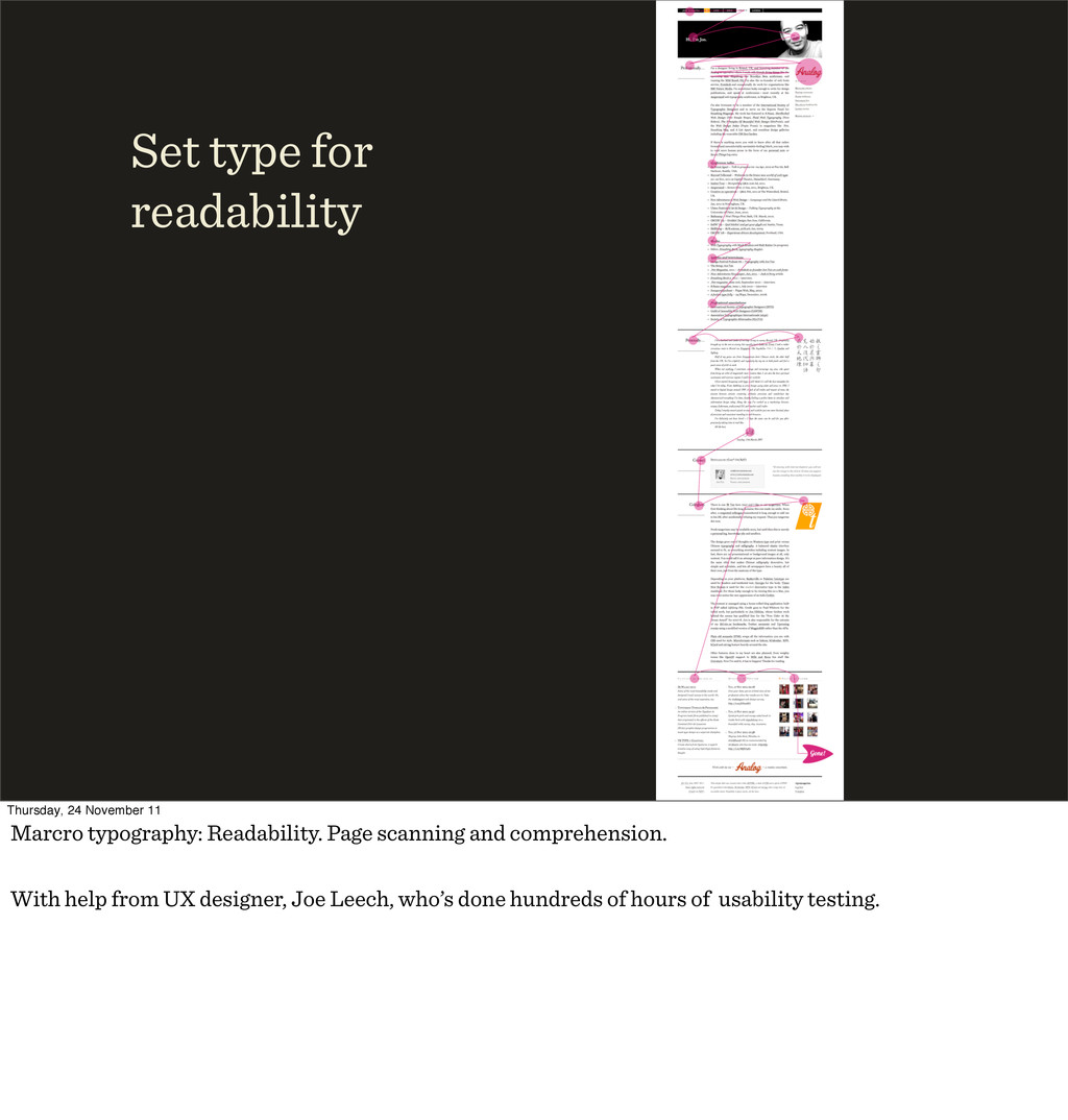 Set type for readability Thursday, 24 November ...