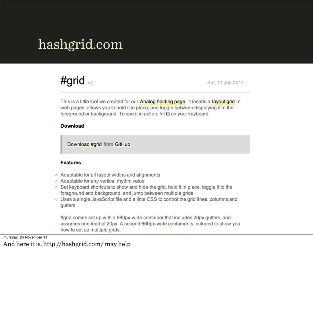hashgrid.com Thursday, 24 November 11 And here ...