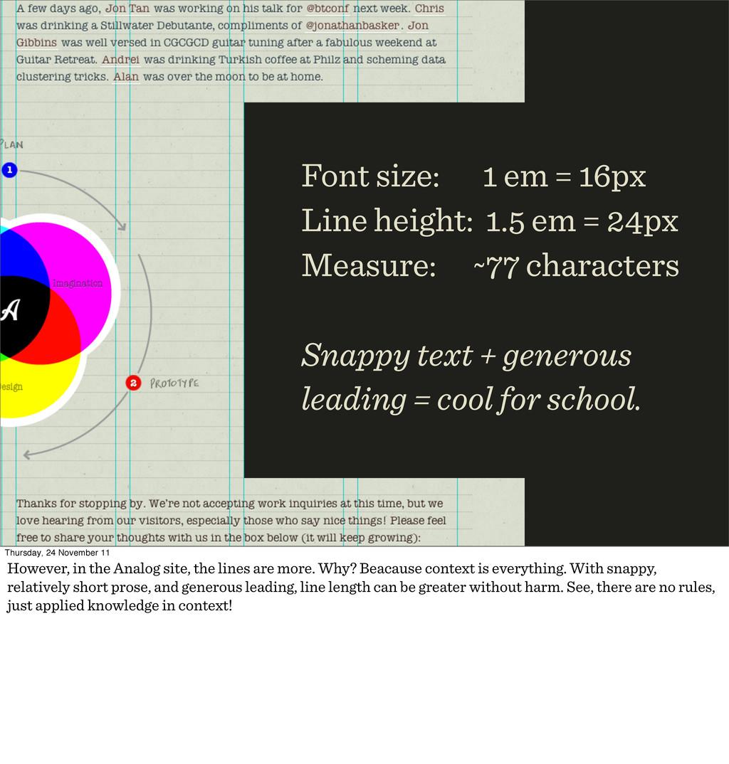 Font size: em = px Line height: . em = px Measu...