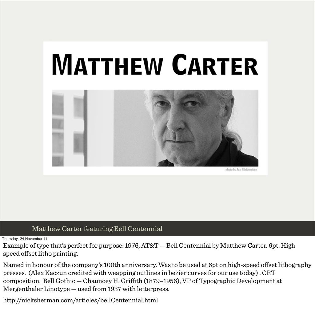 Matthew Carter featuring Bell Centennial Thursd...