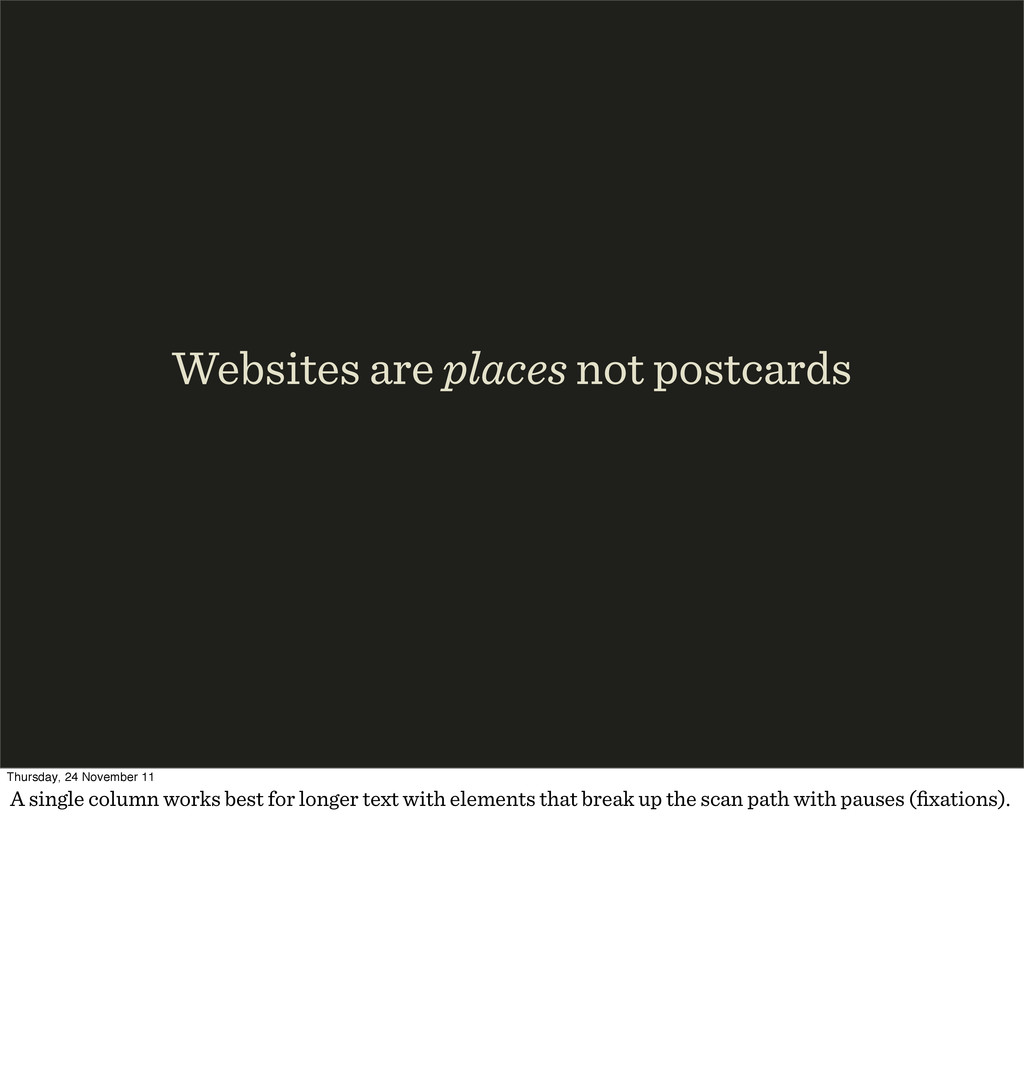 Websites are places not postcards Thursday, 24 ...
