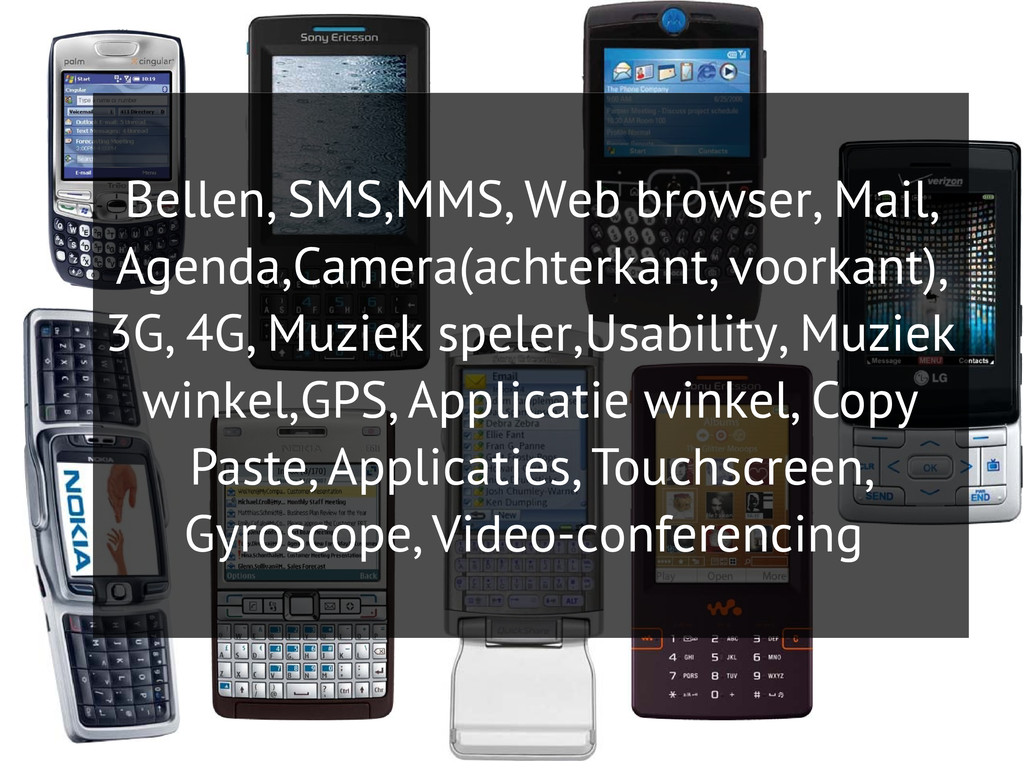 Bellen, SMS,MMS, Web browser, Mail, Agenda,Came...