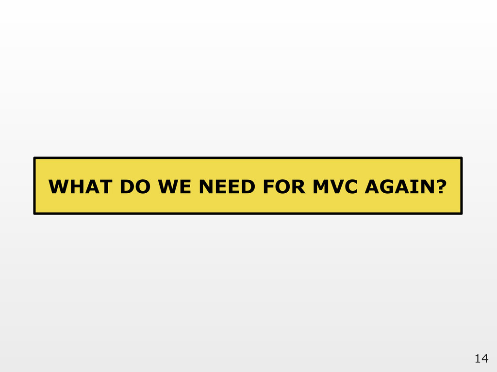 14 WHAT DO WE NEED FOR MVC AGAIN?