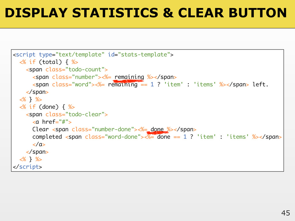 DISPLAY STATISTICS & CLEAR BUTTON 45 <script ty...