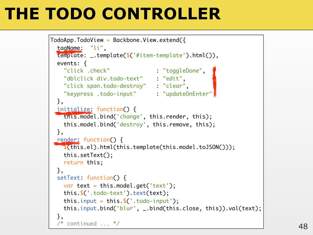 THE TODO CONTROLLER 48 TodoApp.TodoView = Backb...